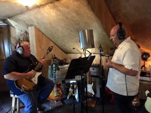 Kevin McCann and Dave Holtzman in the studio during the recording of Hijinx and Tomfoolery.